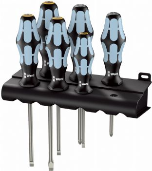 Wera 05032061001 3334/3355/6 6 Piece Kraftform Stainless Screwdriver Set SL/PZ